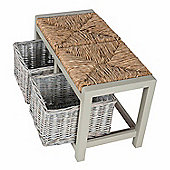 Homescapes Grey Wooden Storage Bench with 2 Wicker Baskets
