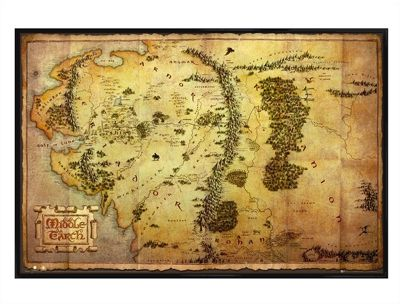 The Hobbit Gloss Black Framed Map of Middle Earth Poster