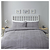 Grey Geometric Stripe Duvet Set Double