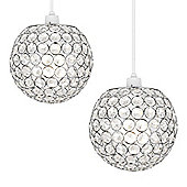Pair of Ducy Ceiling Pendant Light Shades, Chrome