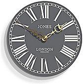 Jones Suffolk Grey Wall Clock