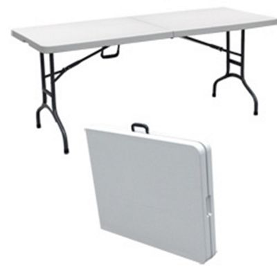 Palm Springs 6Ft (180Cm) Folding Plastic/Steel Trestle Table With Handle White