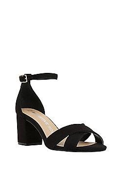 F&F Sensitive Sole Faux Suede Open Toe Sandals - Black