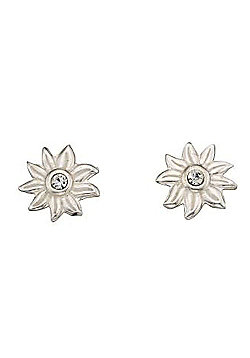 Girls Sterling Silver Crystal Sun Stud Earrings