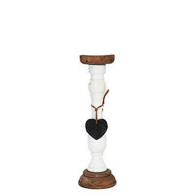White Wood & Heart Candle Holder/Candlestick Classic Style