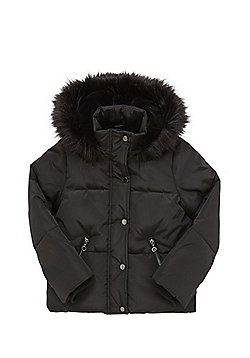 F&F Faux Fur Trim Padded Hooded Jacket - Black