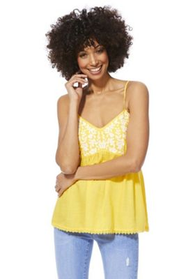 F&F Floral Embroidered Cami Top Yellow 22