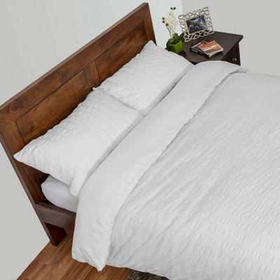 Homescapes White Luxury Seersucker Duvet Cover Set, King
