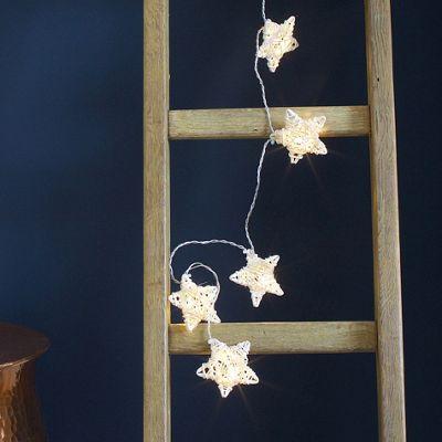 10 White Rattan Star Battery LED Fairy Lights