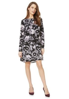 Vila Floral Drop Waist Dress Black L