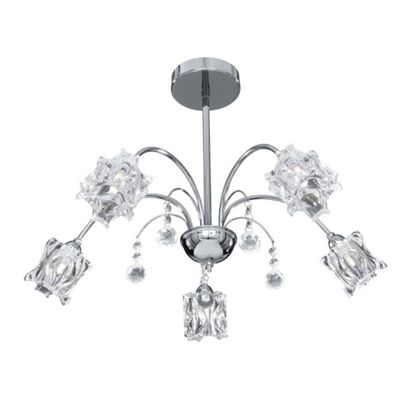FABIA 5 LIGHT CHROME FITTING - GLASS SHADES