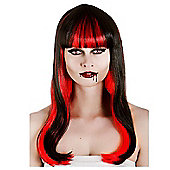 Wicked Ladies Alluring Vampire Black and Red Wig Halloween Fancy Dress
