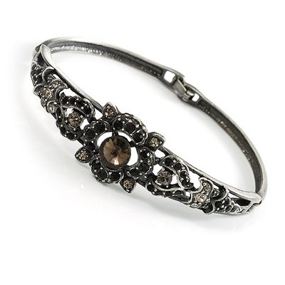 Crystal Victorian Fashion Bangle Bracelet (Antique Silver)