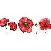 Painted Poppies Set of 3 Printed Canvases 20cm x 20cm Each