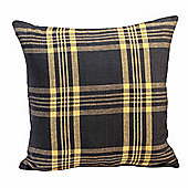 Homescapes Grey & Yellow Tartan Check Filled Cushion, 60 x 60 cm