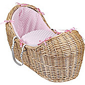 Clair de Lune Natural Noah Pod Moses Basket (Dimple Pink)