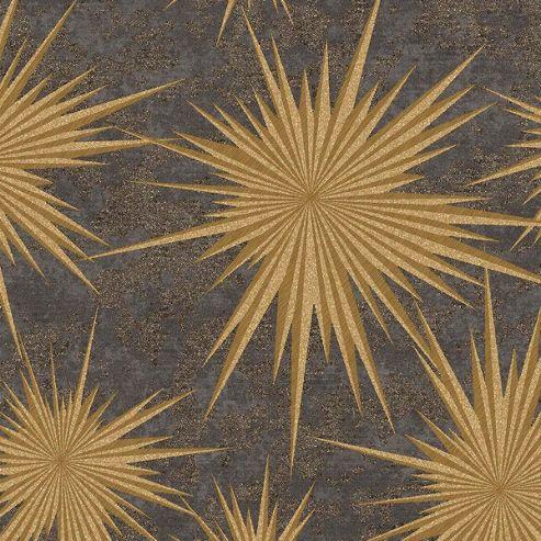 Crown Quantum Ebony Gold Wallpaper
