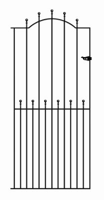 Wrought Iron Style Ball Finial Tall Side Gate 76cm GAP x 194cm High