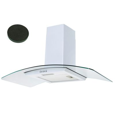 SIA CPL91WH 90cm Curved Glass White Chimney Cooker Hood Extractor Fan + Filters