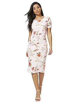 Feverfish Floral Bodycon Dress - White