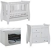 Tutti Bambini Katie 2 Piece + Sprung Mattress Nursery Room Set - White