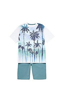 F&F Slogan T-Shirt and Shorts Set - Multi