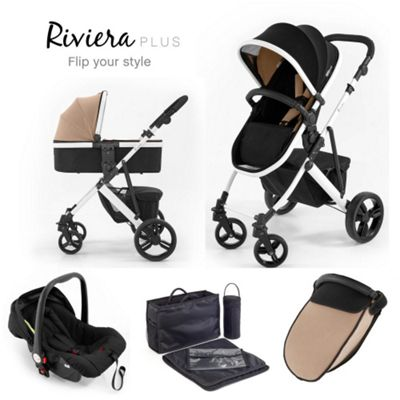 Tutti Bambini Riviera Plus 3 in 1 White Travel System - Black / Taupe