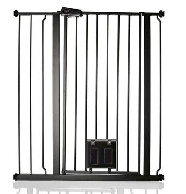 SafetotsBettacare Gate with Lockable Cat Flap Matt Black 87.9cm - 95.5cm