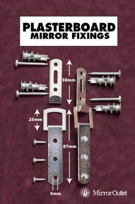 Heavy Duty Mirror Fixings + Hooks + Straps + Fittings For A Plasterboard Wall