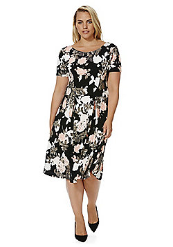 Sienna Couture Floral Print Plus Size Dress - Multi