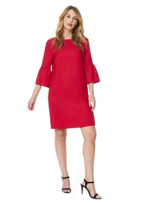 F&F Crepe Bell Sleeve Dress Red 10