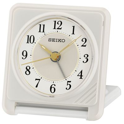 Seiko QHT016W Ascending Beep Alarm Clock With Light & Snooze Function - White
