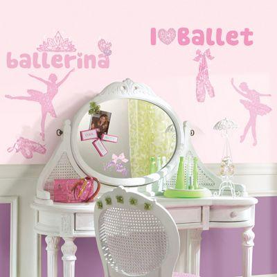Childrens Wall Stickers - Ballet Glitter, Ballet Wall Stickers, Ballet Decor Girls Bedrooms