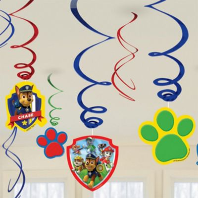 Nickelodeon 'Paw Patrol' 6 Pack Swirl Decorations Party Accessories