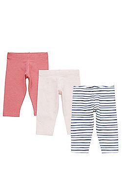 F&F 3 Pack of Striped and Plain Leggings - Multi