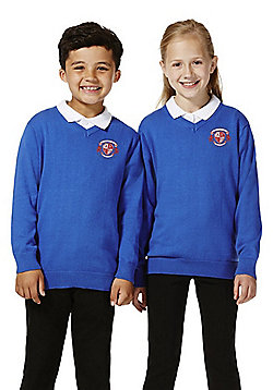 Unisex Embroidered V-Neck Cotton School Jumper with As New Technology - Royal blue