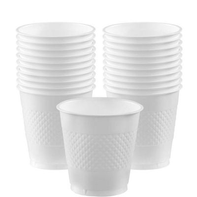 White Cups - 355ml Plastic Party Cups - 20 Pack