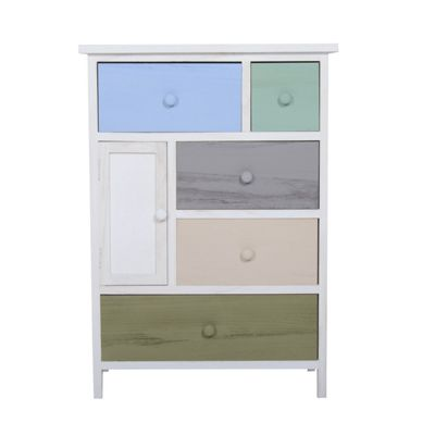 HOMCOM Cabinet Chest of Drawers Multicolor Drawer Bedroom Furniture w/ 5 Drawers & 1 Door