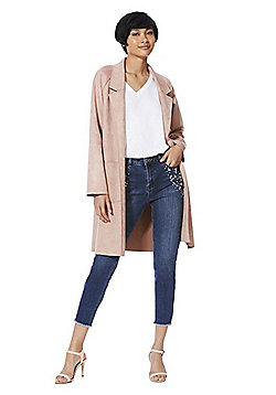F&F Suedette Open Front Long Line Jacket - Blush pink