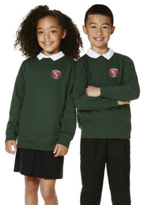 Unisex Embroidered School Sweatshirt with As New Technology 4-5 years Bottle green