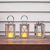Set of 3 Galvanised Metal Battery LED Candle Lanterns