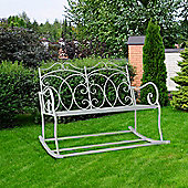 Outsunny 2 Seater Garden Bench Rocking Chair w/ Decorative Backrest White