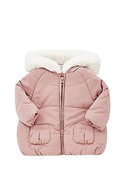 F&F Faux Fur Hood Puffer Jacket - Pink