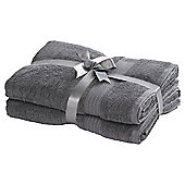 TESCO HYGRO COTTON 2 PACK BATH TOWELS GREY