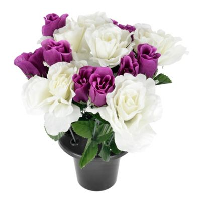 Homescapes Cerise Peonies Artificial Flowers in White Round Ceramic Bowl