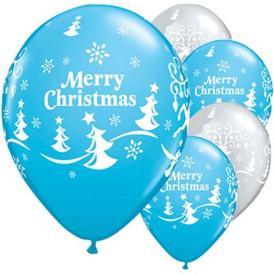 25 Pack Merry Christmas and Reindeer Balloons - 11 inch Latex