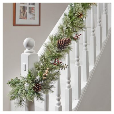 tesco 6ft christmas garland with white red berries