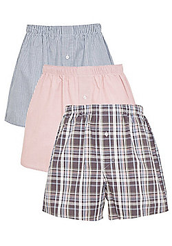F&F 3 Pack of Striped, Plain and Checked Woven Boxers with As New Technology - Multi