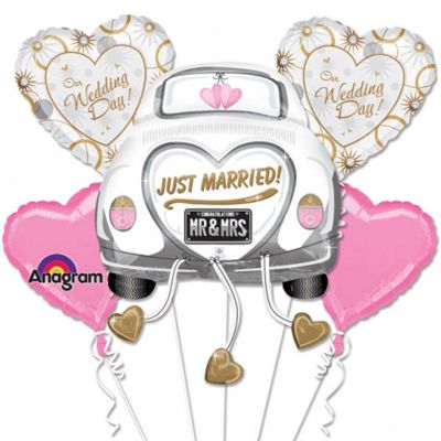 Just Married Balloon Bouquet - Assorted Foil