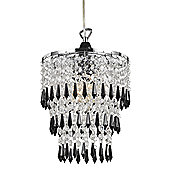 Modern Pendant Shade with Black/Clear Acrylic Droplets and Beads